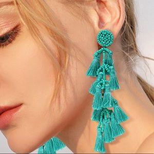 Anita Turquoise Layered Tassel Earrings!